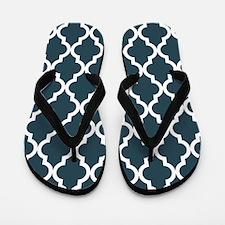 Blue, Grey: Quatrefoil Moroccan Pattern Flip Flops