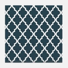 Blue, Grey: Quatrefoil Moroccan Patte Tile Coaster