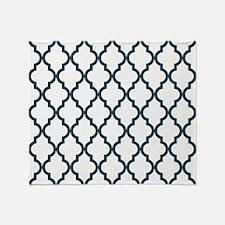 Blue, Grey: Quatrefoil Moroccan Patt Throw Blanket