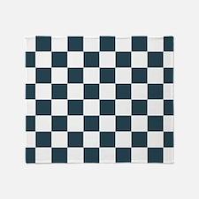 Blue, Grey: Checkered Pattern Throw Blanket
