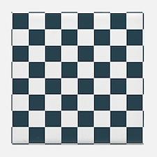 Blue, Grey: Checkered Pattern Tile Coaster