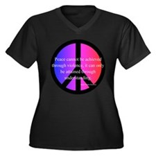 Peace Women's Plus Size V-Neck Dark T-Shirt