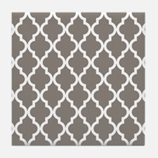 Moroccan Quatrefoil Pattern: Neutral Tile Coaster