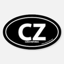 Czech Republic country bumper sticker Black (Oval)