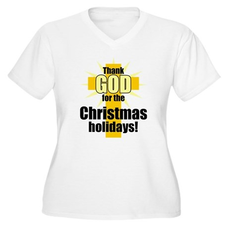 Thank God for Christmas Women's Plus Size V-Neck T