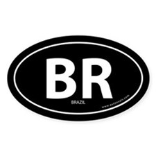 Brazil country bumper sticker -Black (Oval)