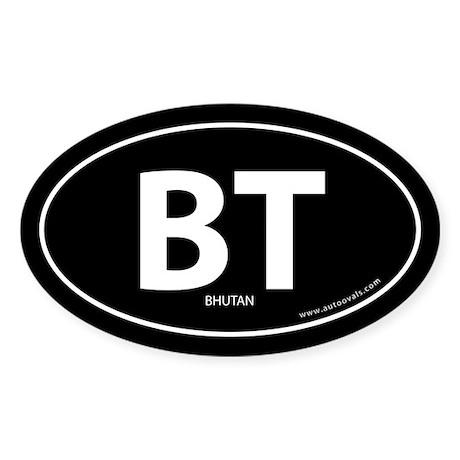 Bhutan country bumper sticker -Black (Oval)