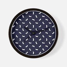 Dachshund Pattern - Navy Wall Clock
