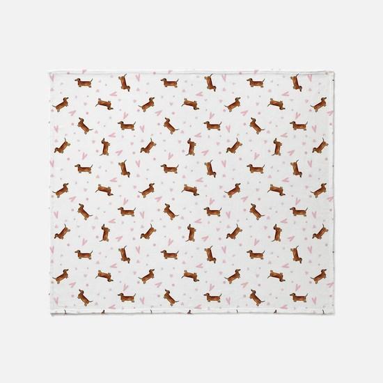 Dachshund Pattern - Hearts Throw Blanket