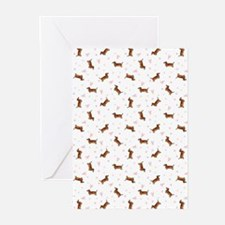 Dachshund Pattern - Hearts Greeting Cards