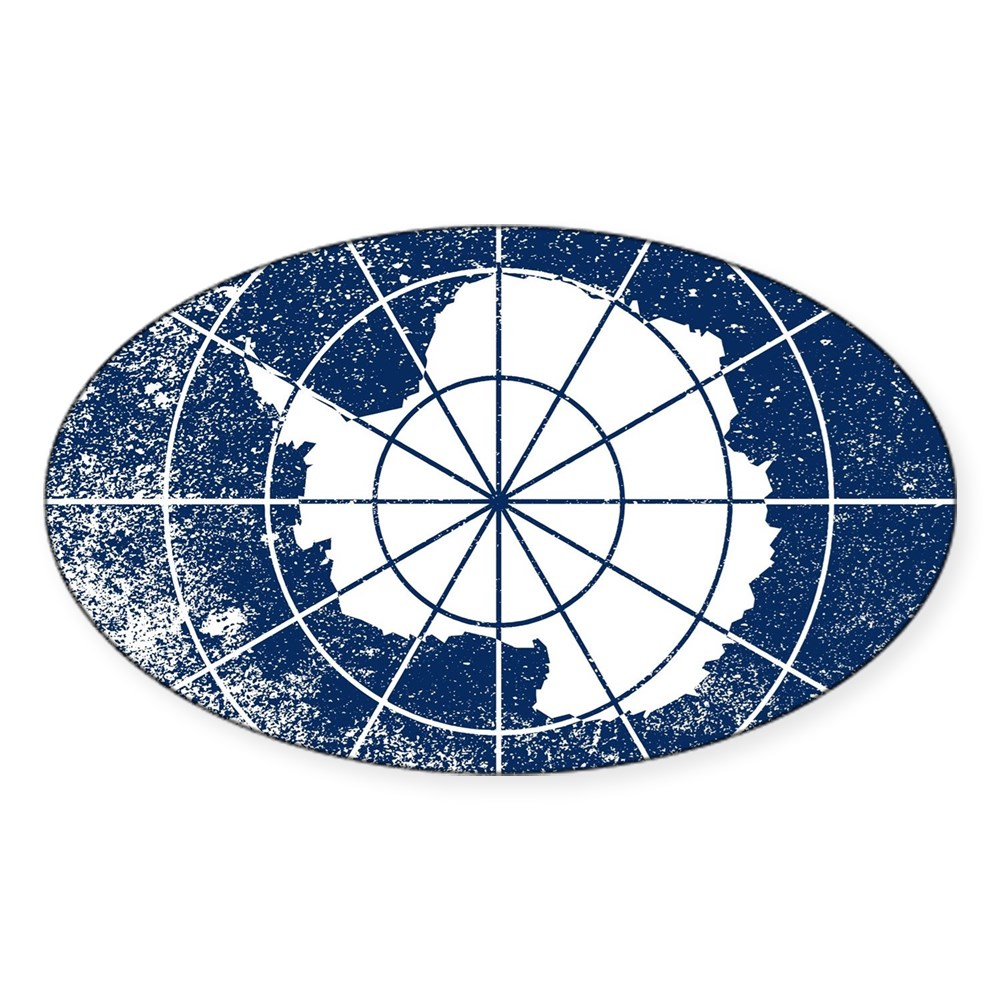 2015047890 CafePress Flag Of Antarctica Grunge Sticker Oval