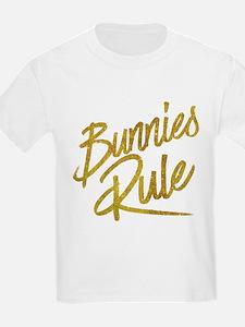 Bunnies Rule Gold Faux Foil Metallic Glitt T-Shirt