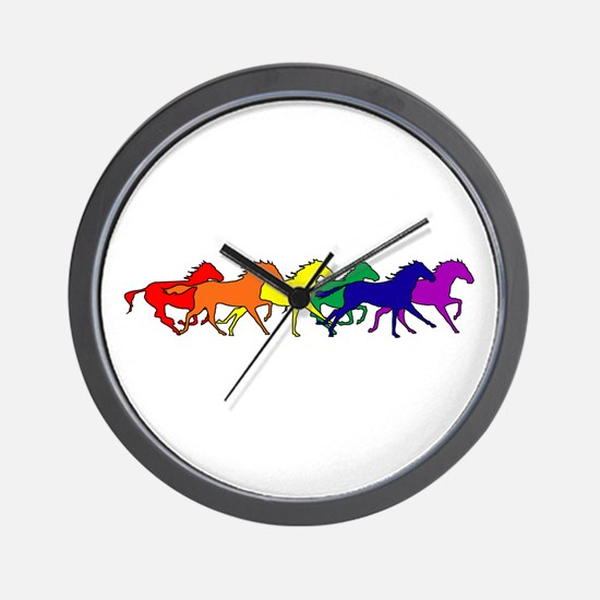Horses Running Wild Wall Clock