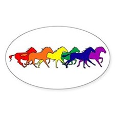Horses Running Wild Oval Decal