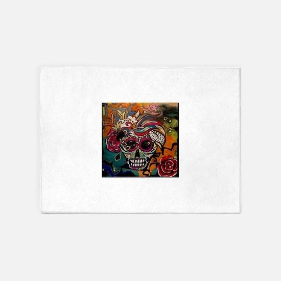 Sugar Skull Day of the Dead Artsy O 5'x7'Area Rug