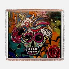 Sugar Skull Day of the Dead Artsy O Woven Blanket