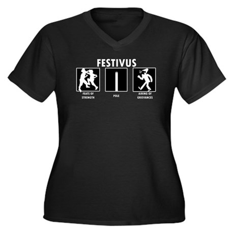 Festivus Miracle Women's Plus Size V-Neck Dark T-S