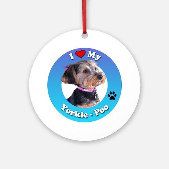 Cute Yorkie poo Round Ornament