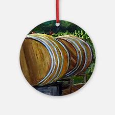 Wine Barrels Round Ornament