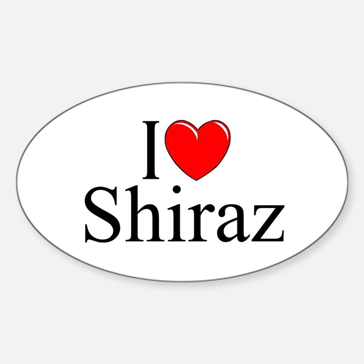 """I Love Shiraz"" Oval Decal"