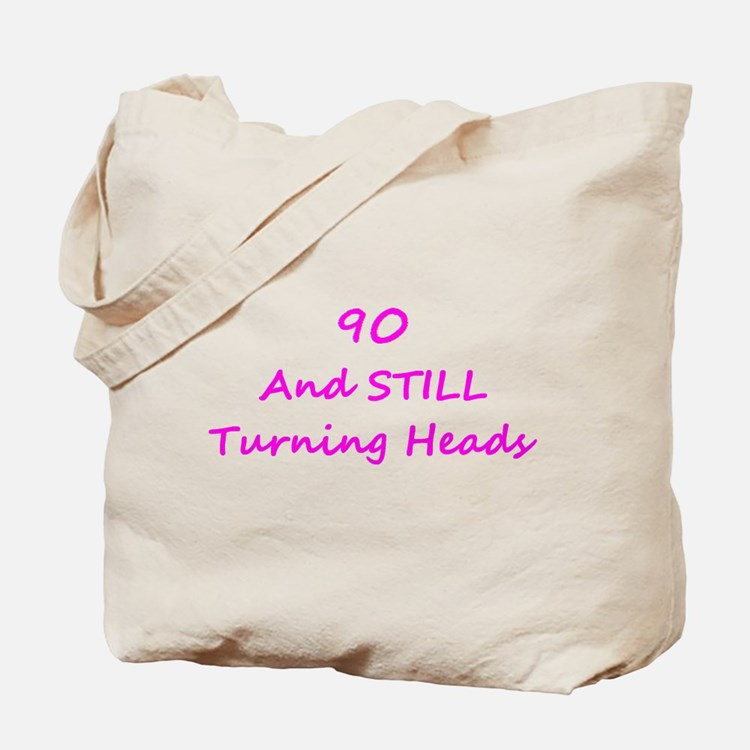 90 Still Turning Heads 1C Pink Tote Bag