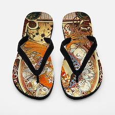 Alphonse Mucha La Plume Zodiac Art Nouv Flip Flops