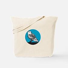 Snowy Owl Circle Retro Tote Bag