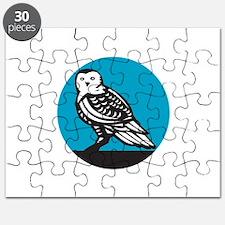 Snowy Owl Circle Retro Puzzle