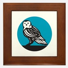 Snowy Owl Circle Retro Framed Tile