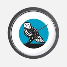 Snowy Owl Circle Retro Wall Clock