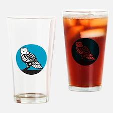 Snowy Owl Circle Retro Drinking Glass