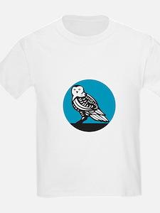 Snowy Owl Circle Retro T-Shirt