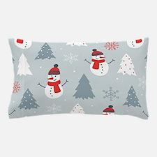 Cute Snowman & Christmas trees Col Pillow Case