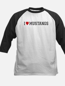 I Love Mustangs Kids Baseball Jersey