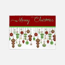 Merry Christmas ornaments 5'x7'Area Rug