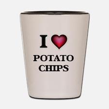 I Love Potato Chips Shot Glass