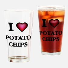 I Love Potato Chips Drinking Glass
