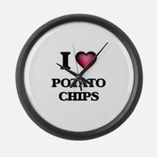 I Love Potato Chips Large Wall Clock