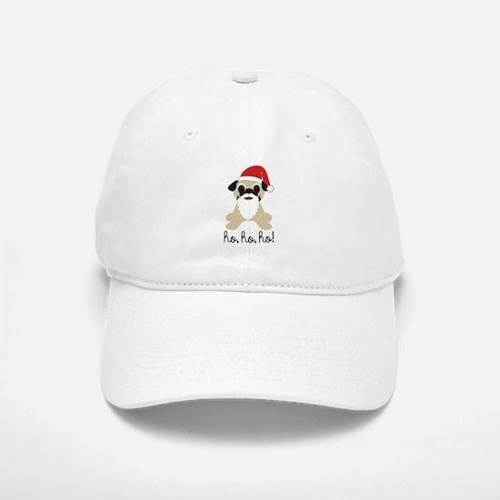 Santa Claus Pug Ho Ho Ho Baseball Baseball Cap