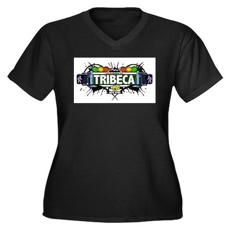Tribeca (White) Women's Plus Size V-Neck Dark T-Sh