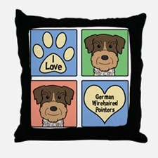 Cute German wirehaired pointer Throw Pillow