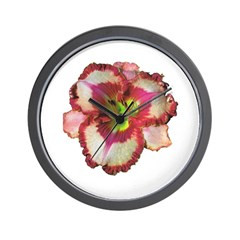 Red Ruffled Daylily Wall Clock