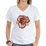 Red Ruffled Daylily Women's V-Neck T-Shirt