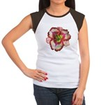 Red Ruffled Daylily Women's Cap Sleeve T-Shirt