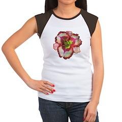 Red Ruffled Daylily Women's Cap Sleeve T-Shirt