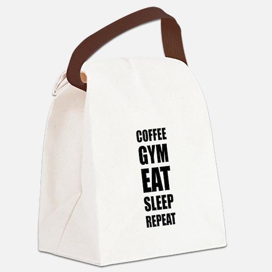 Coffee Gym Work Eat Sleep Repeat Canvas Lunch Bag