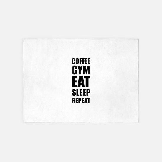 Coffee Gym Work Eat Sleep Repeat 5'x7'Area Rug
