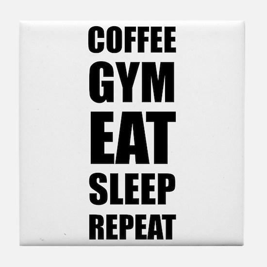 Coffee Gym Work Eat Sleep Repeat Tile Coaster