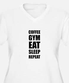 Coffee Gym Work Eat Sleep Repeat Plus Size T-Shirt