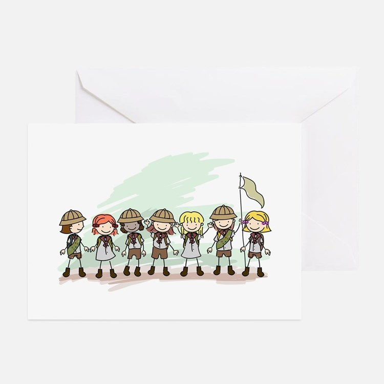 Illustration of Girl Scouts in a Lin Greeting Card